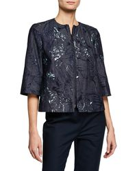 Lafayette 148 New York - Etched Palm Zip-front 3/4-sleeve Denim Jacket - Lyst