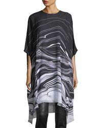 St. John - Brush Stroke Print Satin Dress - Lyst