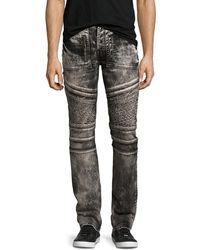 PRPS - Demon Bleached Moto Slim-straight Jeans - Lyst