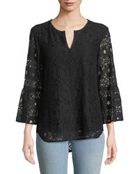 Finley Belle Chenille Lace 3/4-sleeve Top - Black