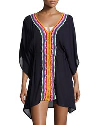 851ad78f97 Nanette Lepore - Peace Love Embroidered Caftan Coverup - Lyst
