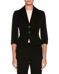 Giorgio Armani - Two-button 3/4-sleeve Fitted Wool Jacket - Lyst