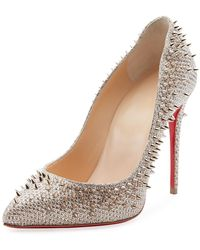 7869e0e5c586 Christian Louboutin - Escarpic 100mm Spiked Fabric Red Sole Pumps - Lyst