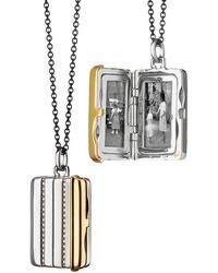 Monica Rich Kosann - Silver & 18k Yellow Gold Rectangle Locket Necklace - Lyst