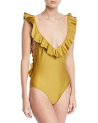 Zimmermann - Jaya V-plunge Flounce Solid One-piece Swimsuit - Lyst