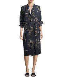 Vince - Spaced Floral-print Tie-waist Shirtdress - Lyst