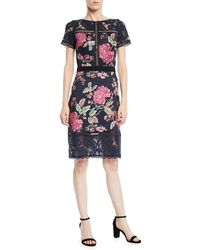 Tadashi Shoji - Short-sleeve Lace & Pleated Floral Cocktail Dress - Lyst