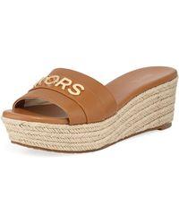 345dd33d0ffd6 MICHAEL Michael Kors - Brady Logo Leather Platform Sandals - Lyst