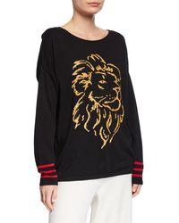 Joan Vass Plus Size Sequin Lion Intarsia Scoop-neck Sweater W/ Striped Sleeves - Black