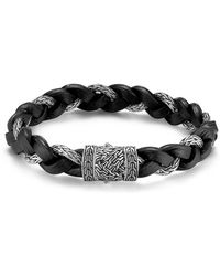 John Hardy - Men's Classic Chain Silver Braided Bracelet W/leather Cord - Lyst