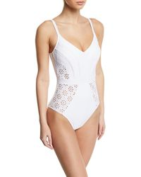 Gottex Kiss And Tell V-neck Eyelet One-piece Swimsuit - White