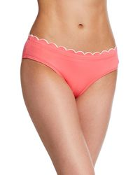Kate Spade Contrast-scalloped Hipster Bikini Bottoms - Pink