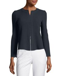 Emporio Armani - Zip-front Long-sleeve Pleated-back Knit Jacket - Lyst
