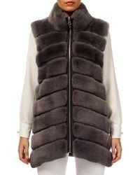 Gorski - Horizontal Rabbit Fur Reversible Zip-front Vest - Lyst