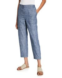 Eileen Fisher Chambray Ankle Pants - Blue