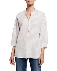 Eileen Fisher - Striped Button-front 3/4-sleeve Cotton Gauze Shirt - Lyst