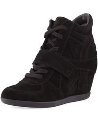 Ash Bowie Lace-up Suede Sneaker Booties - Black
