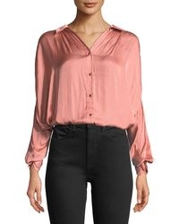 Halston - Ruched Satin Button-up Blouse - Lyst