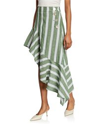 Rejina Pyo Ella High-waist Asymmetric Flounce Skirt - Green