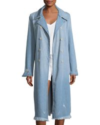 FRAME - Le Denim Double-breasted Trench Coat - Lyst