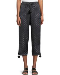 Figue - Fiore Dot-print Pull-on Pajama Silk Satin Ankle Pants W/ Pompom - Lyst