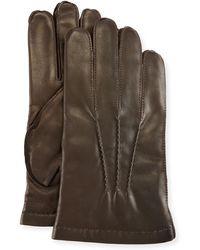 Portolano - 3-point Napa Leather Gloves W/cashmere Lining - Lyst