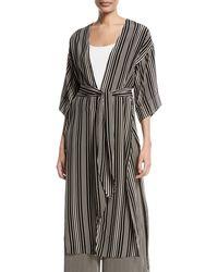 Halston - Long V-neck Self-tie Kimono Jacket - Lyst