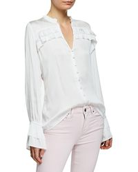 43382c60e93 PAIGE - Anguilla Long-sleeve Blouse With Layered Ruffle Trim - Lyst