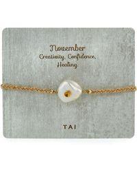 Tai Baroque Pearl Handmade Birthstone Bracelet - Yellow