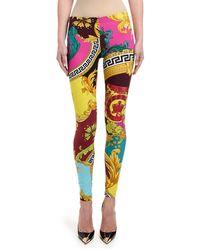 Versace Printed Jersey Leggings - Multicolour