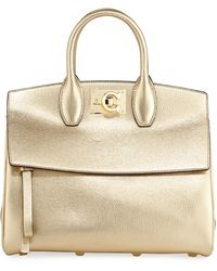 Ferragamo - Studio Small Metallic Leather Satchel Bag - Lyst