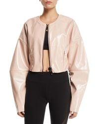 Alo Yoga - Liquid Cropped Shiny Zip-front Jacket - Lyst