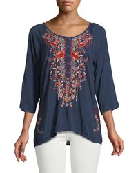Johnny Was - Olivia 3/4-sleeve Embroidered Blouse - Lyst
