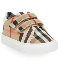Burberry Markham Check Grip-strap Sneaker - Natural