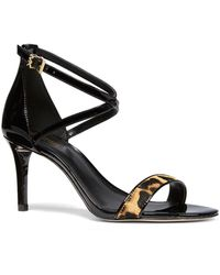 MICHAEL Michael Kors - Ava Patent And Leopard Sandals - Lyst
