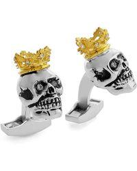 Tateossian - King Skull Cuff Links W/golden Plating - Lyst