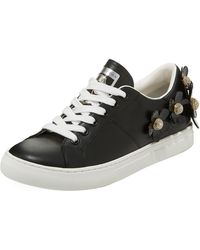 Marc Jacobs - Daisy Crystal-flower Leather Platform Sneakers - Lyst