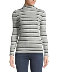 FRAME - Turtleneck 70's Inspired Striped Ribbed Sweater - Lyst