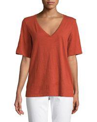 Eileen Fisher - Short-sleeve V-neck Organic Cotton Slub Jersey Tee - Lyst