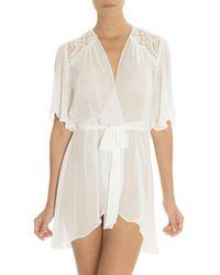 Jonquil - Rania Sheer Chiffon Short-sleeve Robe - Lyst