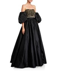 Theia Couture Beaded Bustier Taffeta Ball Gown W/ Detachable Balloon Sleeves - Black