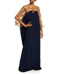 Marchesa Caftan-style Silk Illusion Gown - Blue