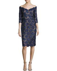 Liancarlo - Floral Guipure Lace Off-the-shoulder Cocktail Dress - Lyst