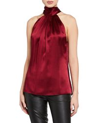 Ramy Brook Lori Tie-neck Silk Halter Top - Red