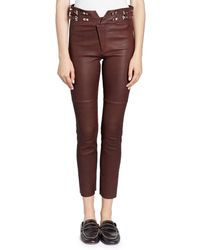 Isabel Marant - Preydie Skinny Lamb Leather Pants With Buckles - Lyst