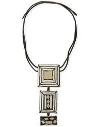 Urban Zen Tricolor Pendant Necklace With Leather Straps - Metallic