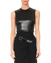 Givenchy - Crewneck Sleeveless Fitted Stretch-satin Top - Lyst