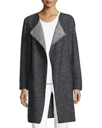 Eileen Fisher - Tweed Fray-edge Long Jacket - Lyst