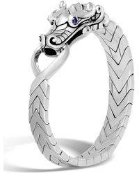 John Hardy Men's Sterling Silver Legends Naga Bracelet With Sapphire Eyes - Metallic