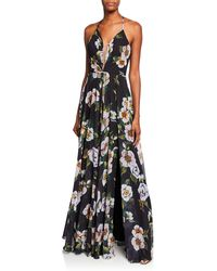 Faviana Couture Floral - Print V - Neck Gown - Black